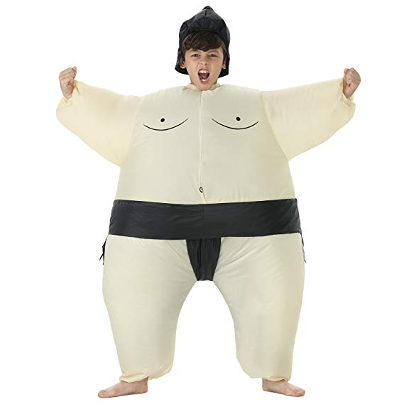 TOLOCO Inflatable Kids Sumo Wrestler Wrestling Suits Halloween Costume, One Size Fits Most - Funny Halloween costumes