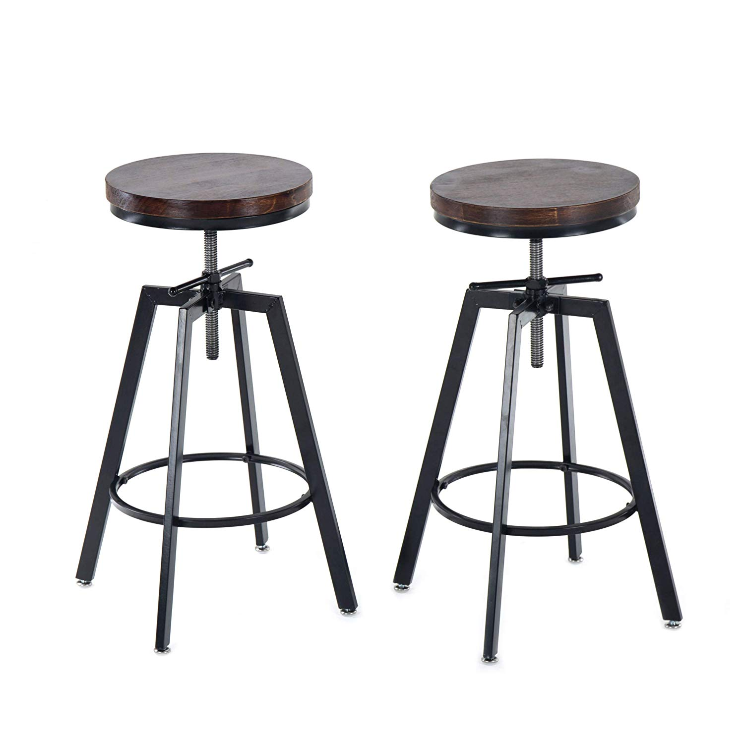 JOELGIUM Adjustable Height Swivel Bar Stools -Set of 2