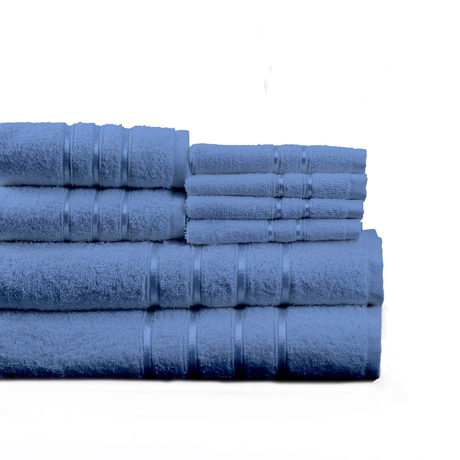 Lavish Home 8 Piece 100% Cotton Plush Bath Towel Set