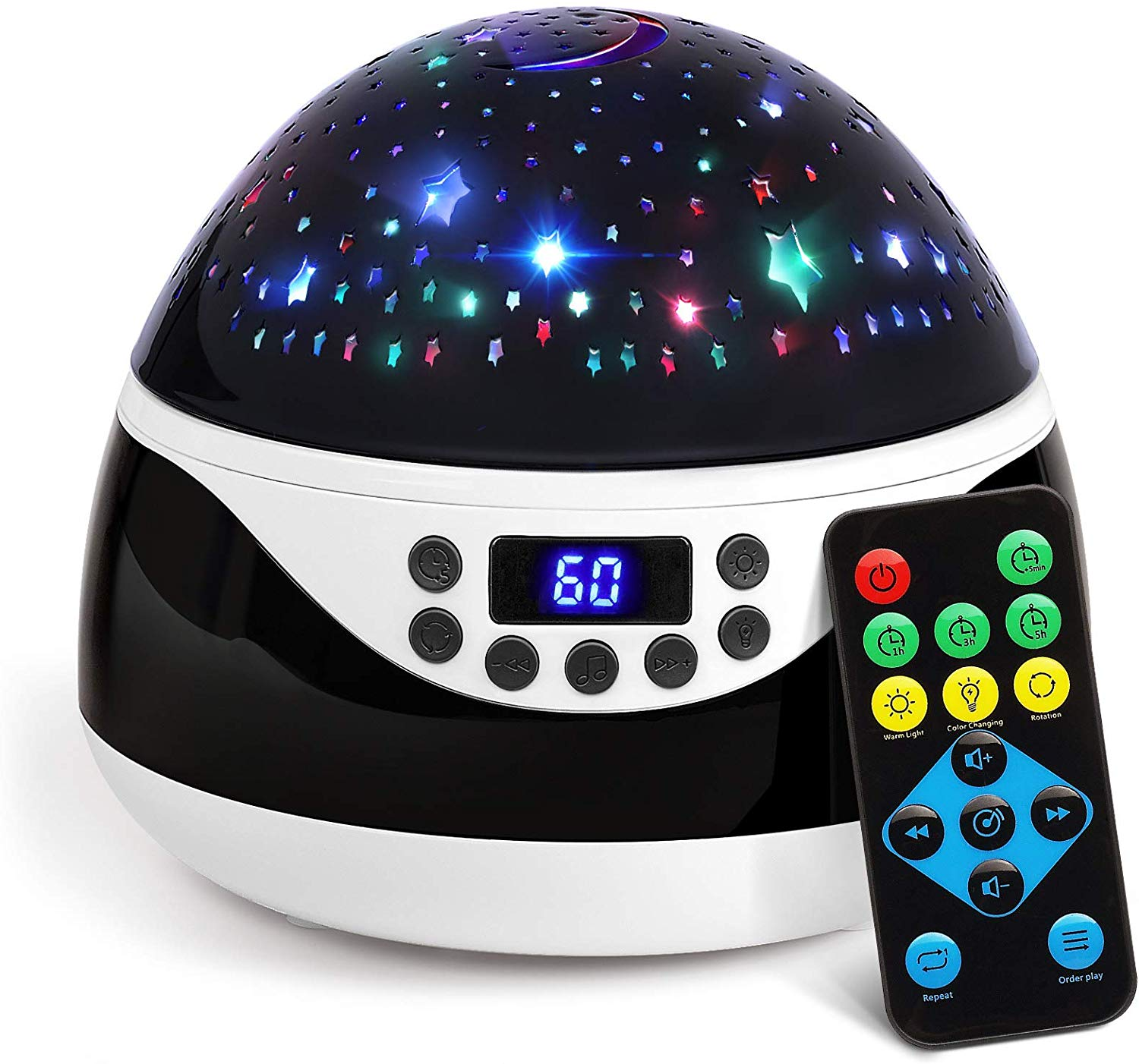 AnanBros Remote Baby Night Light with Timer Music, Star Night Light Projector for Kids, Rotating Kids Night Lights for Bedroom 9 Color Options, Projection Lamp for Baby Christmas Gifts Black,
