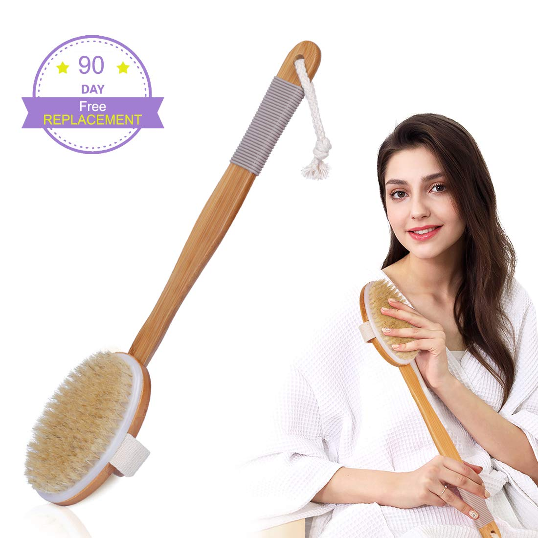 Shower Brush Dry Brush with Rubber Anti-skid Cover for Ladies Men and Elders Use Body Brush with Soft Bristles Back Scrubber Detachable Long Bamboo Handle