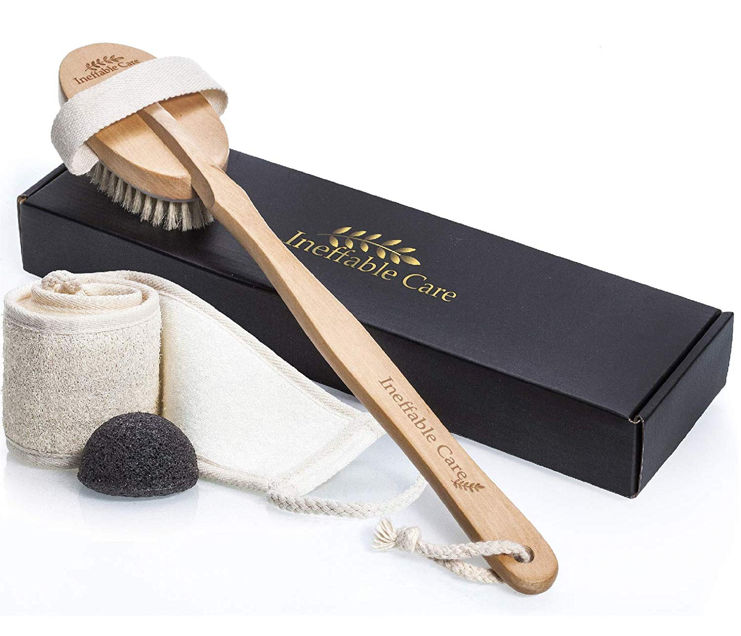 Loofah Back Scrubber & Body Brush for Dry Skin Brushing | Best Shower Back Scrubbers