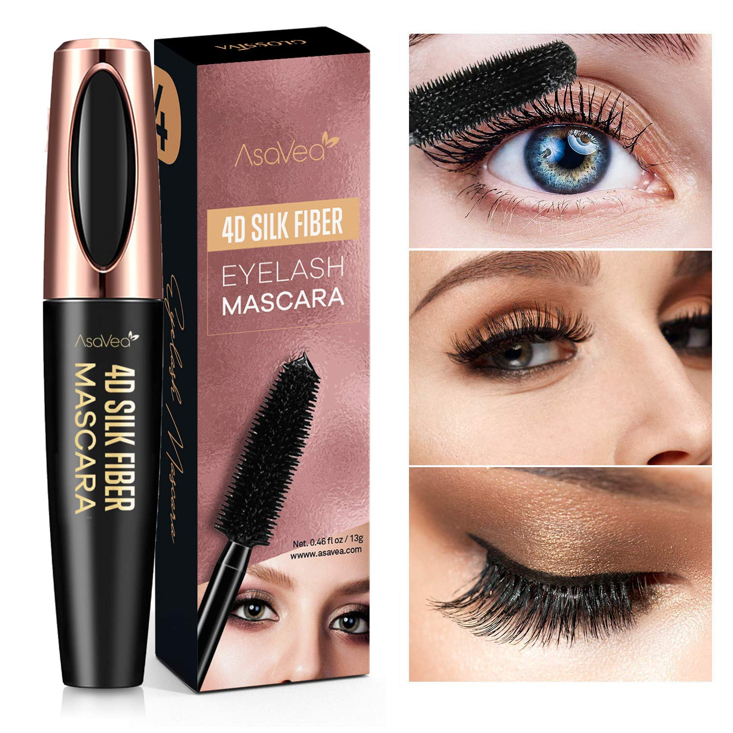 Natural 4D Silk Fiber Lash Mascara, Lengthening and Thick, Long Lasting, Waterproof & Smudge-Proof, All Day Exquisitely Lush, Full, Long, Thick, Smudge-Proof Eyelashes…