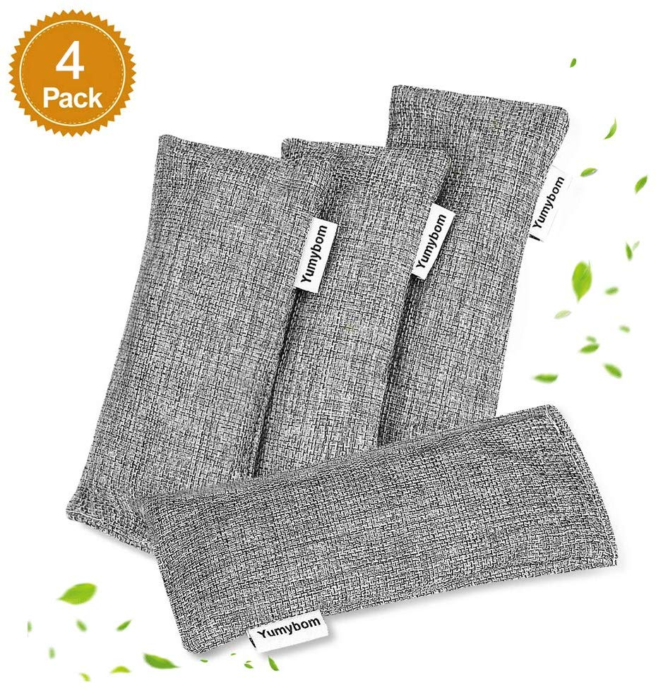 8. Yumybom Natural Activated Bamboo Charcoal Bags 4 Pcak, Home Air Purifying Bag, Car Odor Eliminator, Shoe Deodorizer, Pet Area Air Freshener, Closets Odor Absorber
