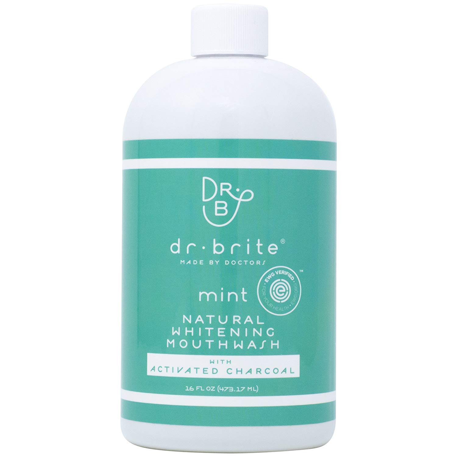 Dr. Brite Natural Whitening Vitamin C Mouthwash with Mint and Activated Coconut Charcoal (16 Fl Oz)