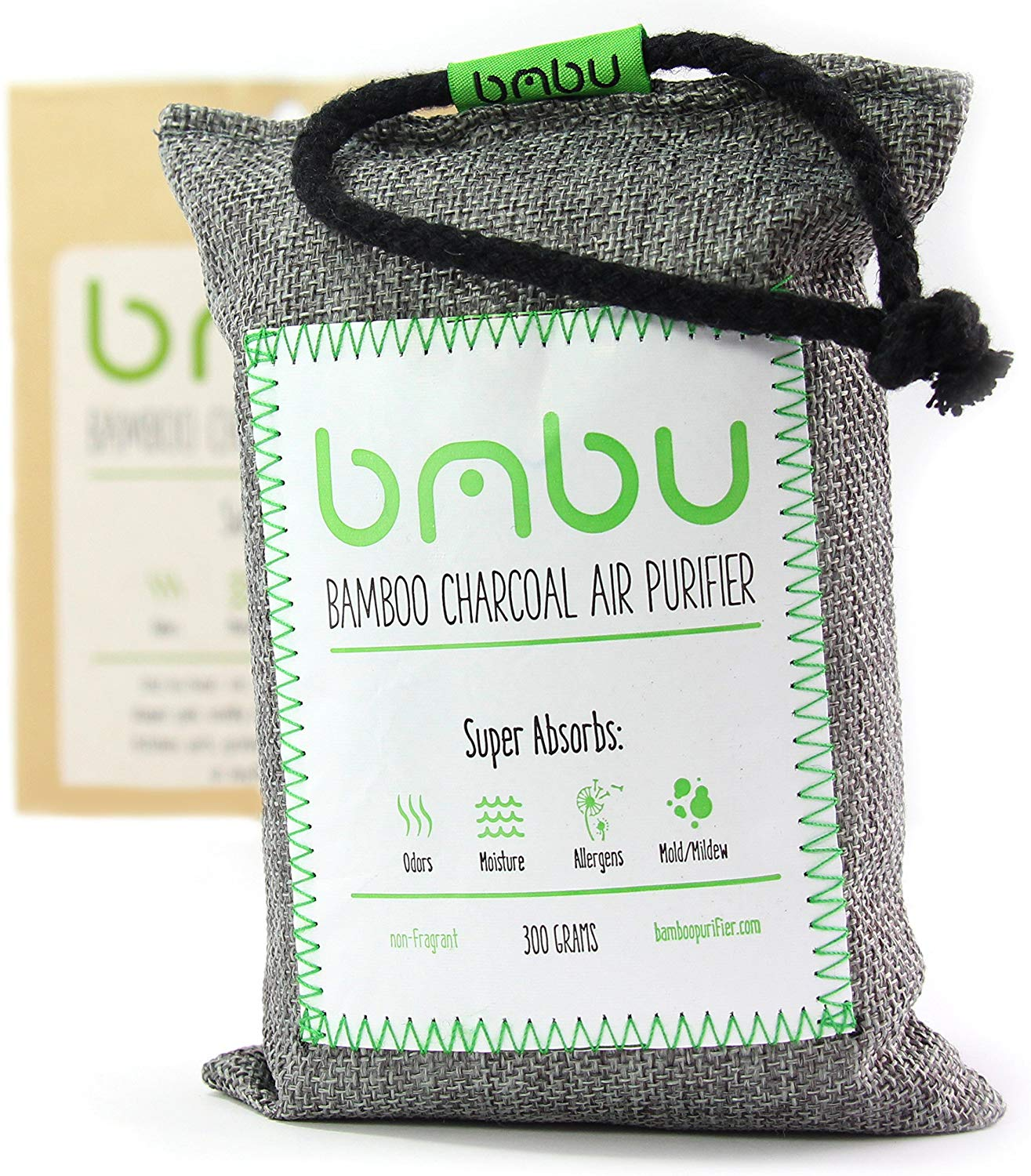 bmbu Bamboo Charcoal Car Deodorizer/Car Freshener Bag - Remove Odor, Control Moisture & Purifier Your Car, Closet, Bathroom, Kitchen, Litter Box - Non-Fragrant Alternative to Sprays (1),
