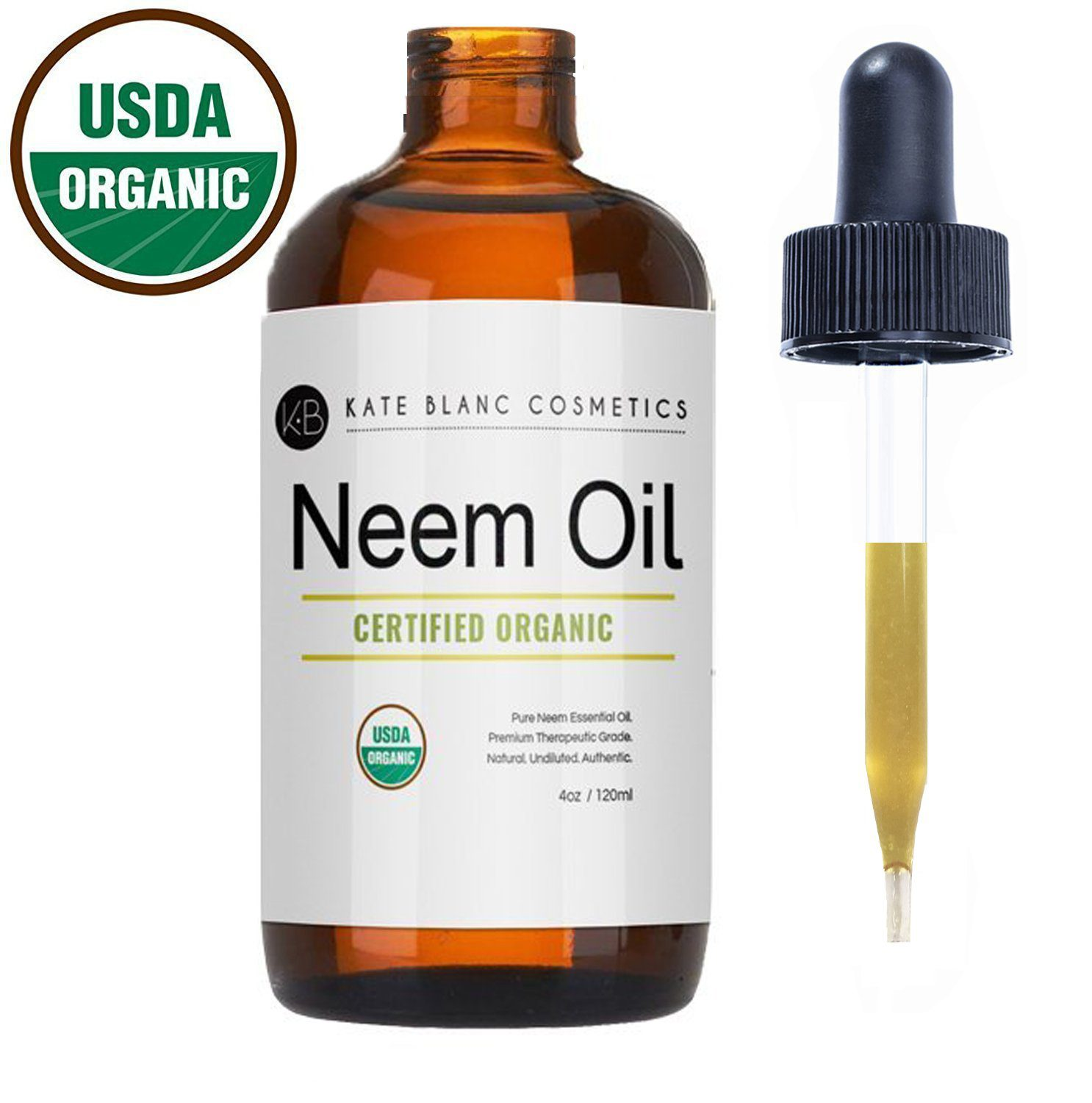 Neem Oil (4oz) by Kate Blanc. USDA Certified Organic, Virgin, Cold Pressed, 100% Pure. Great for Hair, Skin, Nails. Natural Anti Aging Moisturizer. 1-Year Guarantee,
