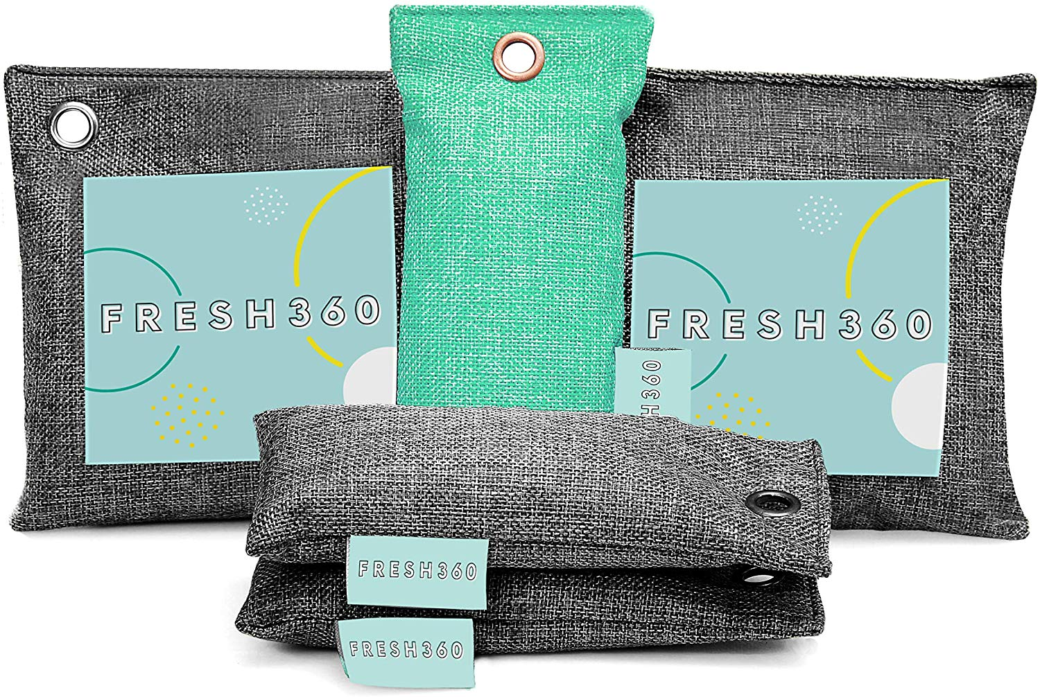 Bamboo Charcoal Air Purifying Bag (5 Pack) Bundle, Natural Air Fresheners & Odor Eliminators for Home, Bad Air Deodorizer, Closet Freshener, Fridge Deodorizer, Car Air Purifier, Shoe Odor Eliminator