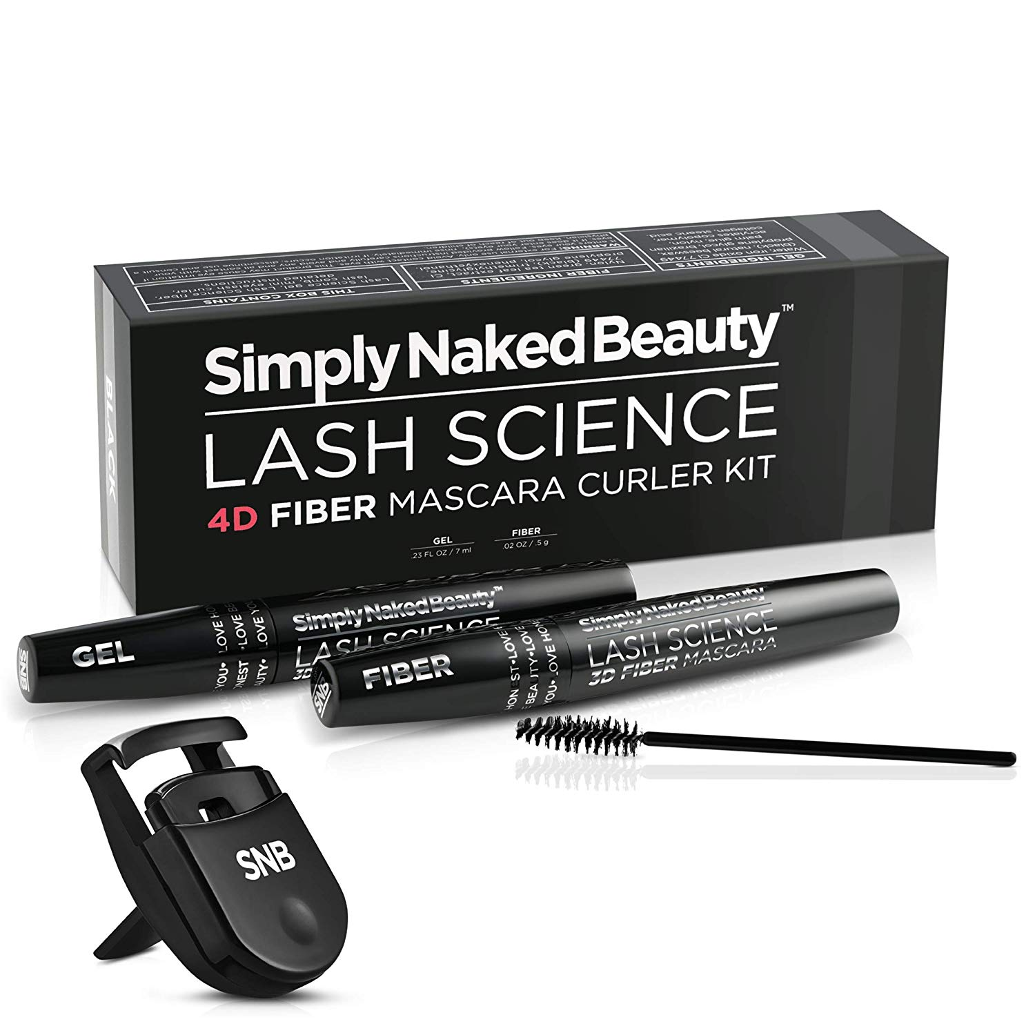 4D Fiber Mascara and Curler Kit by Simply Naked Beauty. Waterproof, lengthening, volumizing, non toxic. Highest quality natural - hypoallergenic ingredients, 3D 4D gel and fiber formula. Mini curler.