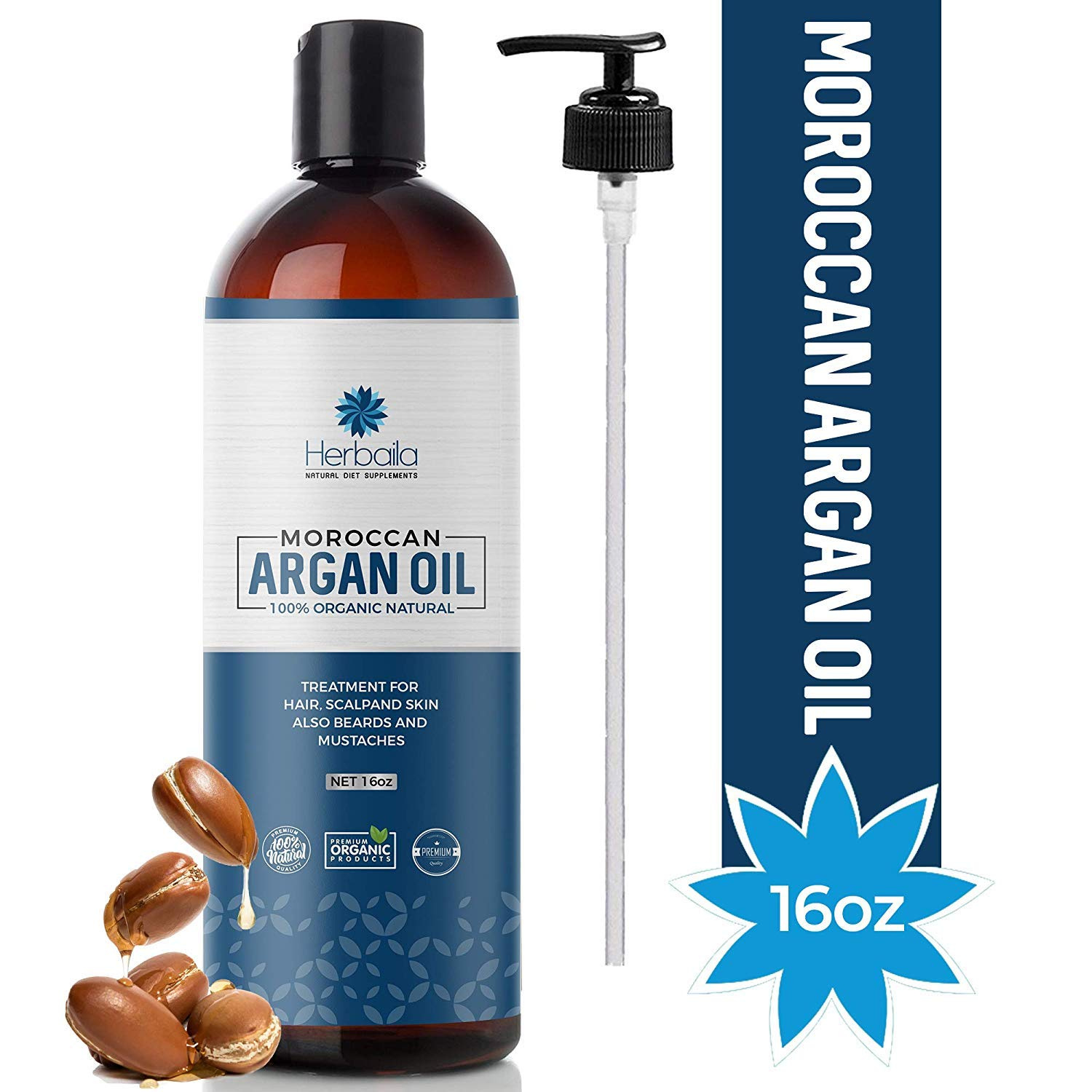 Moroccan Argan Oil 16oz, Cold Pressed Extra Virgin Oil for Hair, Skin, Face, Nails, Beard & Eyelashes, Anti-Aging Beauty Oil, 100% Pure & Organic, Deep Penetrating Moisturizer with Vitamin E