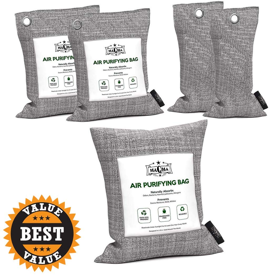 MaQma Bamboo Charcoal Air Purifying Bags (5 Pack) Natural, Activated Odor Eliminator, Freshener, Deodorizer | Car, Gym Bags, Bathrooms, Cat Litter Areas (2 X 75 Grams, 2 X 200 Grams, 1 X 500 Grams),