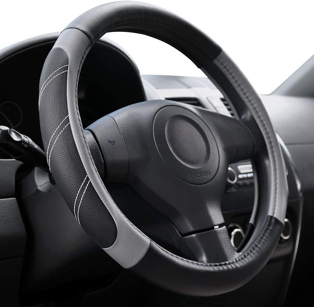 Elantrip Sport Leather Steering Wheel Cover 14 1/2 inch to 15 inch Universal, Padded Soft Grip Breathable for Car Truck SUV Jeep, Anti Slip Odorless Black and Gray