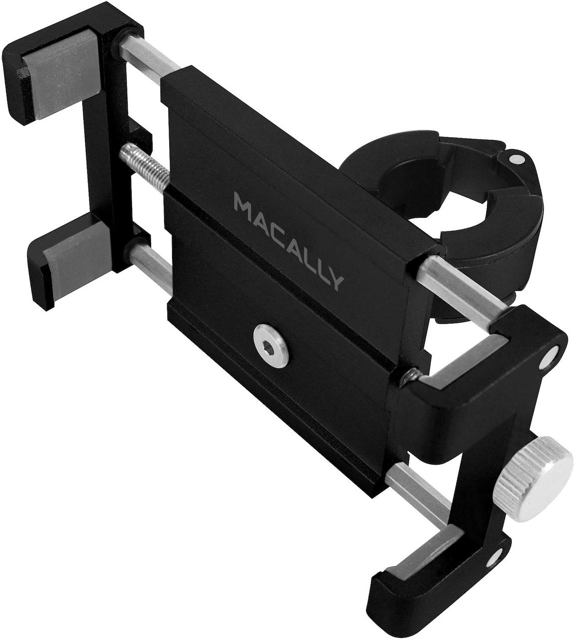 Macally Aluminum Bike Phone Mount Bicycle Holder on Handlebar for iPhone 11 Pro Max XS XR X 8 7 Plus 6S 6 SE, Samsung S10 S10E S9 S8 S7 S6 Edge Note & Other Mobile Smartphone Devices (BIKEMOUNT)
