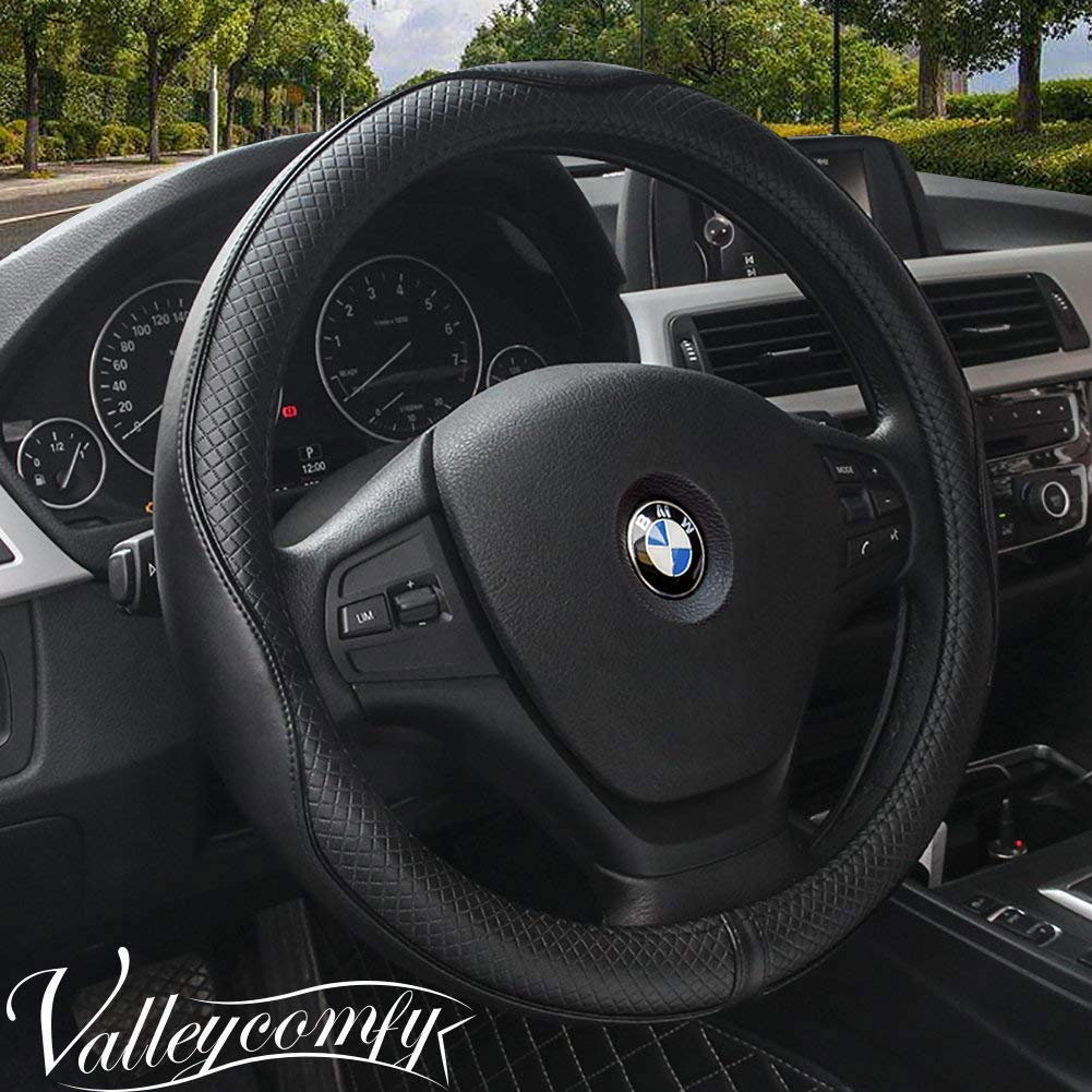 Valleycomfy Universal 15 inch Auto Car Steering Wheel Cover with Black Genuine Leather for HRV CRV Accord Corolla Prius Rav4 Tacoma Camry X1 X3 X5 335i 535i,etc