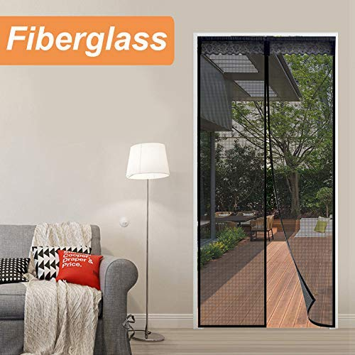 "Reliancer Fiberglass Magnetic Screen Door 38""x82"" Large Magnet Patio Door Mesh Curtain for Door Opening Up to 36"" x81"" W/Full Frame Magic Tape Outdoor Patio(Fiberglass, 3882)"