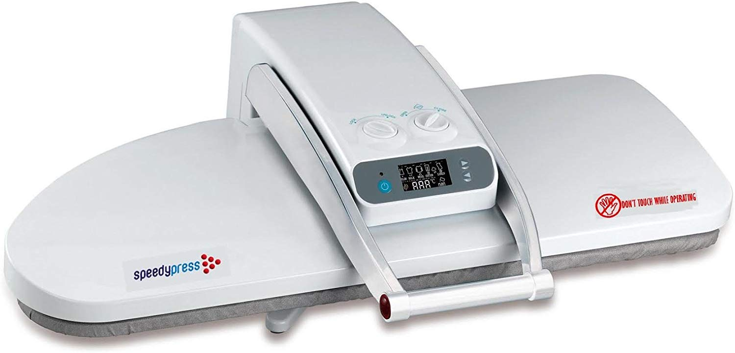 3. Super Premier Double Size Ironing Press; 1800watts! Halves Your Ironing Time! Can be Used as Dry Press or 38 Powerful Steam Jets. FREE ACCESSORIES INCLUDED: Extra Cover and Foam, Pressing Cushion, Filler Jug, Spray Bottle, Instructional DVD B00OUGRKEE