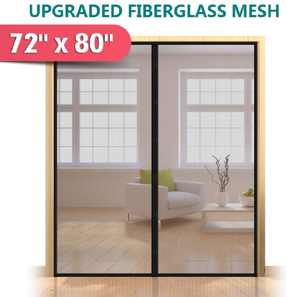 Upgrade Fiberglass Magnetic Screen Door, Fits Doors up to 70 x 79-Inch, Mkicesky French Door Mesh Curtain, with Full Frame Hook&Loop, Keep Bugs Out - Black