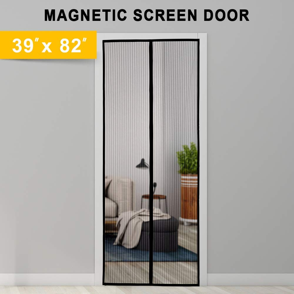 """Titan Mall Magnetic Screen Door with Super Tight Self Closing Magnetic Seal and Durable Polyester Mesh, Full Frame Mounting Tape, Fits 39""""W x 82""""H Door, Black Trim Magnet Curtain & Mosquito Screen"""
