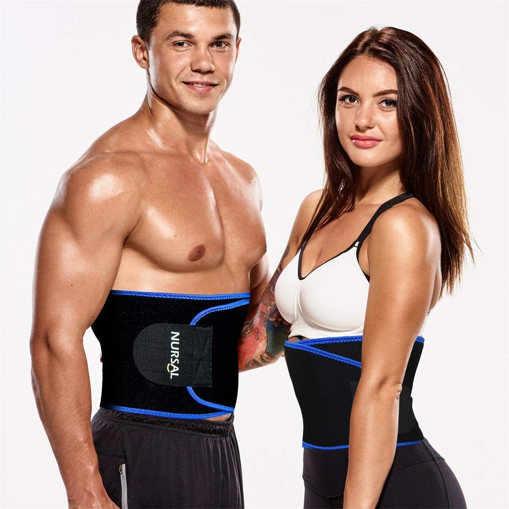 NURSAL Waist Trimmer for Weight Loss Workout Sweat Enhancer Exercise Adjustable Wrap and Waist Trainer for Stomach Adjustable Abdominal Muscle & Back Lumbar Support Ab Belt for Man and Women (L)