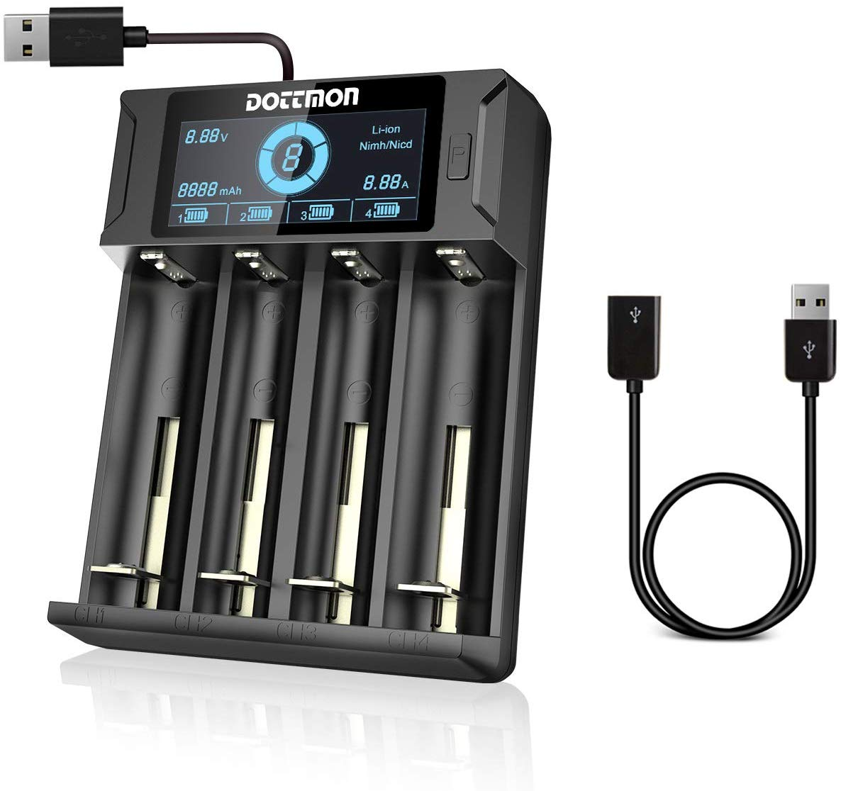 DOTTMON LCD Smart Universal Battery Charger 4 Bay | Best Rechargeable AA Battery