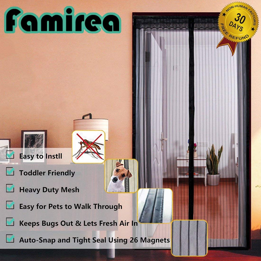 Magnetic Screen Door,Removable Screen Door