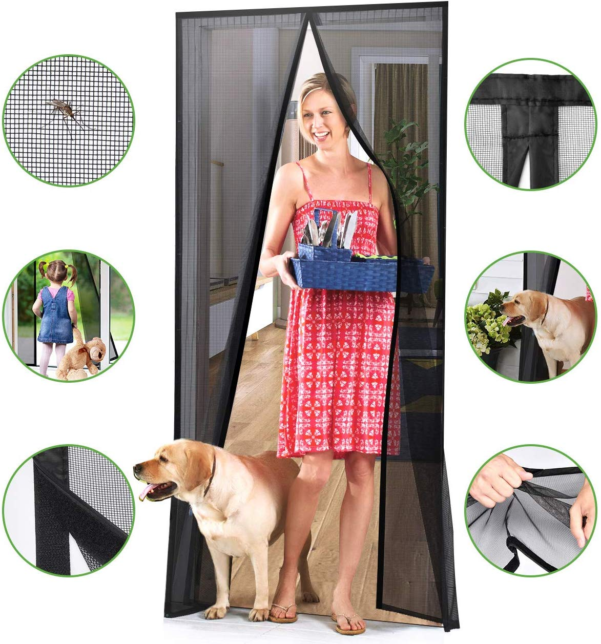 Homitt [Upgraded Version] Magnetic Screen Door with Durable Fiberglass Mesh Curtain and Full Frame Hook & Loop Fits Door Size up to 37