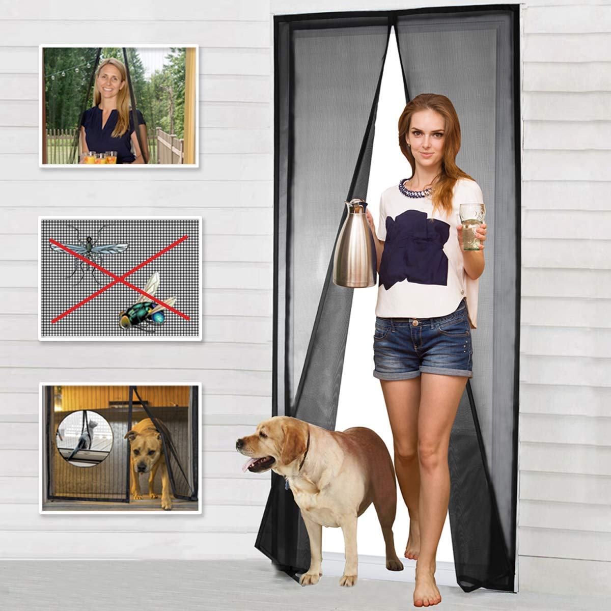 "Magnetic Screen Door Fiberglass Mesh Screen Door with Magnets, Fly Mosquitos Bug Insect Screen for Sliding Glass Door French Door Patio Door, Full Frame Hook & Loop, Hands Free, Pet Friendly (34""x82"")"