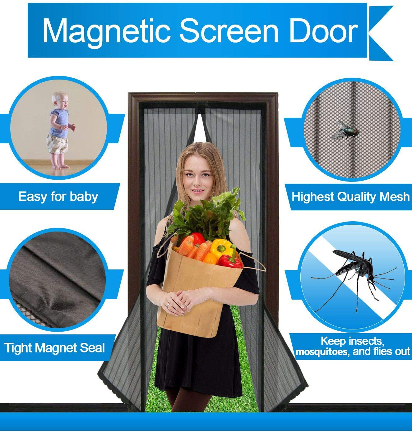 .Magnetic Screen Door Mesh Curtain