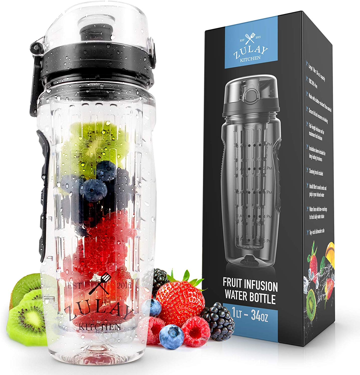 Zulay Water Bottle with Fruit Infuser