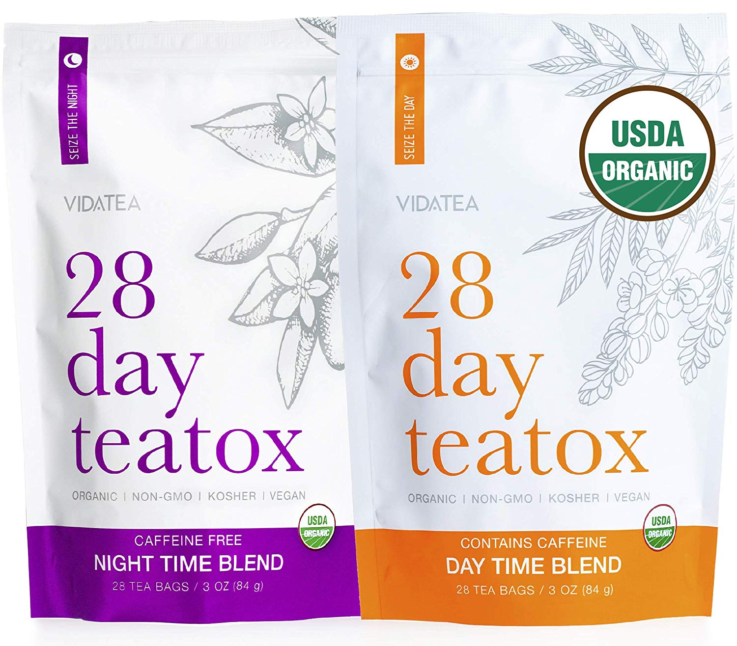 Vida Tea 28 Day and Night Organic Detox Tea - All Natural Healthy Herbal Tea Supplement for a Colon Cleanse, Liver, and Stomach Digestion, Weight Loss, and Energy -56 Servings