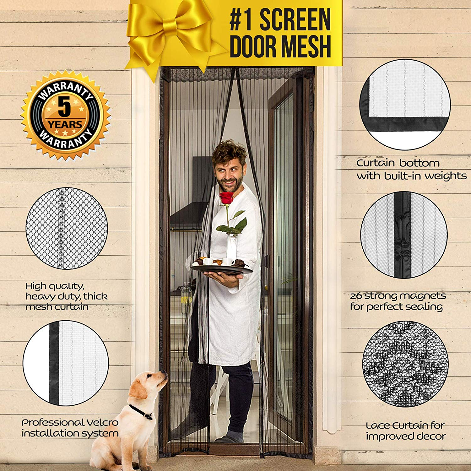 """Lazy Monk Magnetic Screen Door with Magnet Closure I Doorway Mosquito Net Bug Mesh 