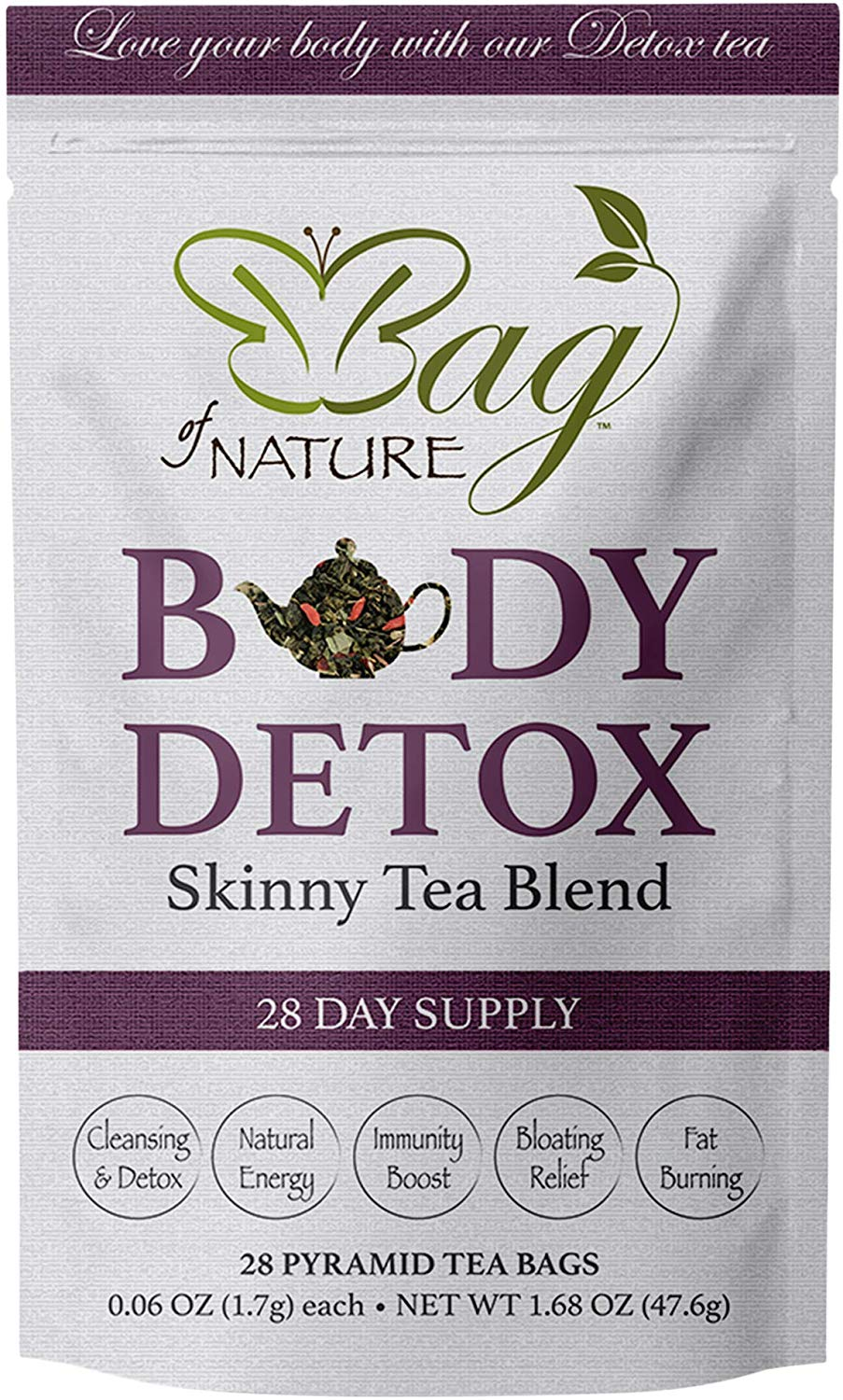 Body Detox by Bag of Nature - Skinny Tea Blend, Supports Fat Burning and Healthy Weight Loss, Promotes Gut Health and Bloating Relief for Men and Women - 28-Day Supply