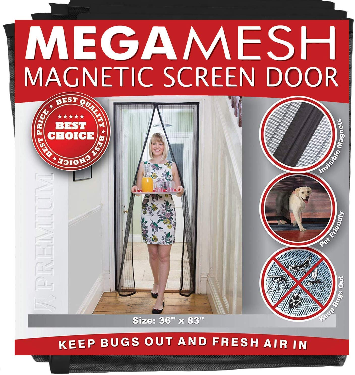 """Magnetic Screen Door – Heavy Duty Reinforced Mesh & Full Frame Hook & Loop ACTUAL SCREEN SIZE 36""""x83"""" Fits Doors Up to 32""""x82"""" MegaMesh Comes With a 12 Month Warranty"""