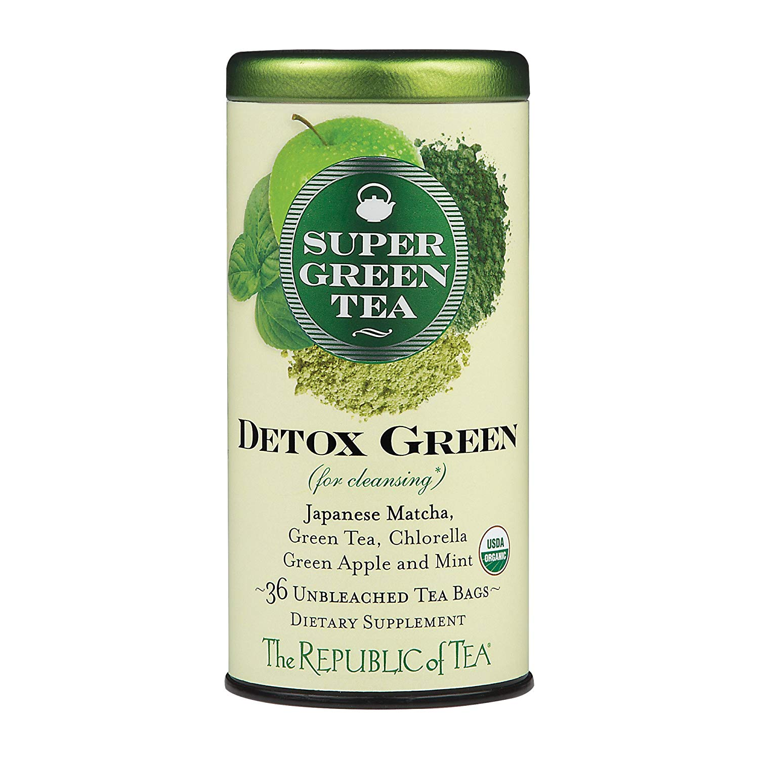 The Republic of Tea Detox Green Supergreen Tea, 36 Tea Bags, Matcha And Chlorella Tea Blend