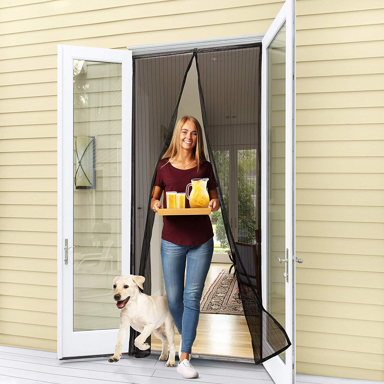 Door Screen Magnetic Closure,Fits Front Back Doors Up to 39X82 Inches,Anti Mosquito Bugs,Pet and Kid Entry Friendly Magnetic Screen Door with Magnets Heavy Duty Mesh Curtain Full Frame Hook Loop