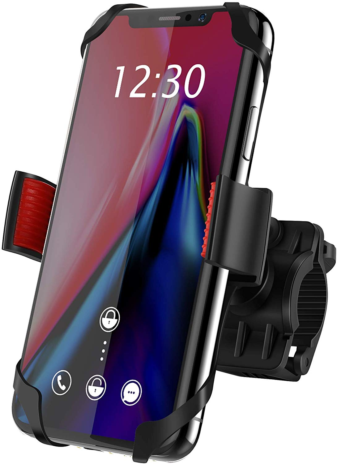 Bike Mount, IPOW Universal Cell Phone Bicycle Rack Handlebar & Motorcycle Holder Cradle for iPhone Xs Max XR X 8 7 6 Plus,Samsung Galaxy S10+ S10 S9 S8 S7 Note 9 8,Nexus,HTC,LG