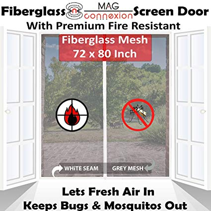 "4. Premium 72""x80"" White Magnetic Screen Door for French Door with Grey Fire-Resistant Fiberglass Mesh 