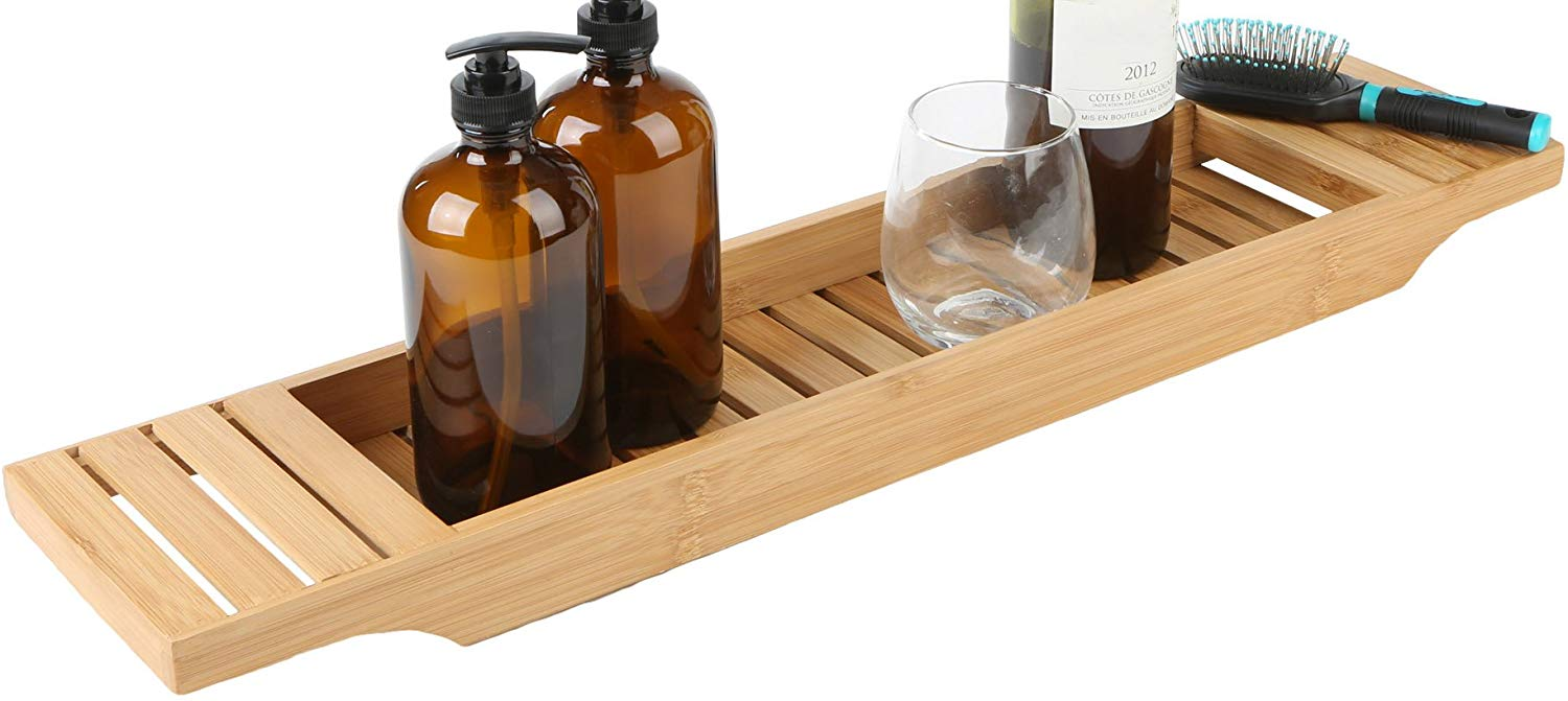 Mind Reader Bathroom Shower Organizer for Shampoo, Soap, Razors, and Much More Bamboo Bathtub Tray Caddy, Brown, Bath