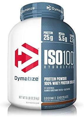 Dymatize ISO100 Hydrolyzed Protein Powder, 100% Whey Isolate Protein, 25g of Protein, 5.5g BCAAs, Gluten Free, Fast Absorbing, Easy Digesting, Gourmet Chocolate, 5 Pound