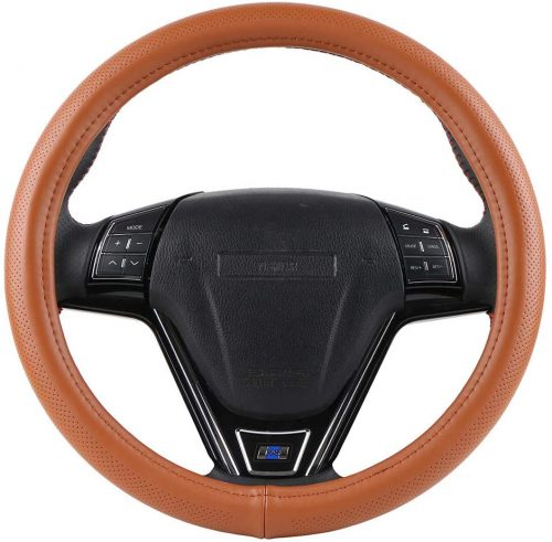Orange Genuine Leather Steering Cover Fits 15 Inch