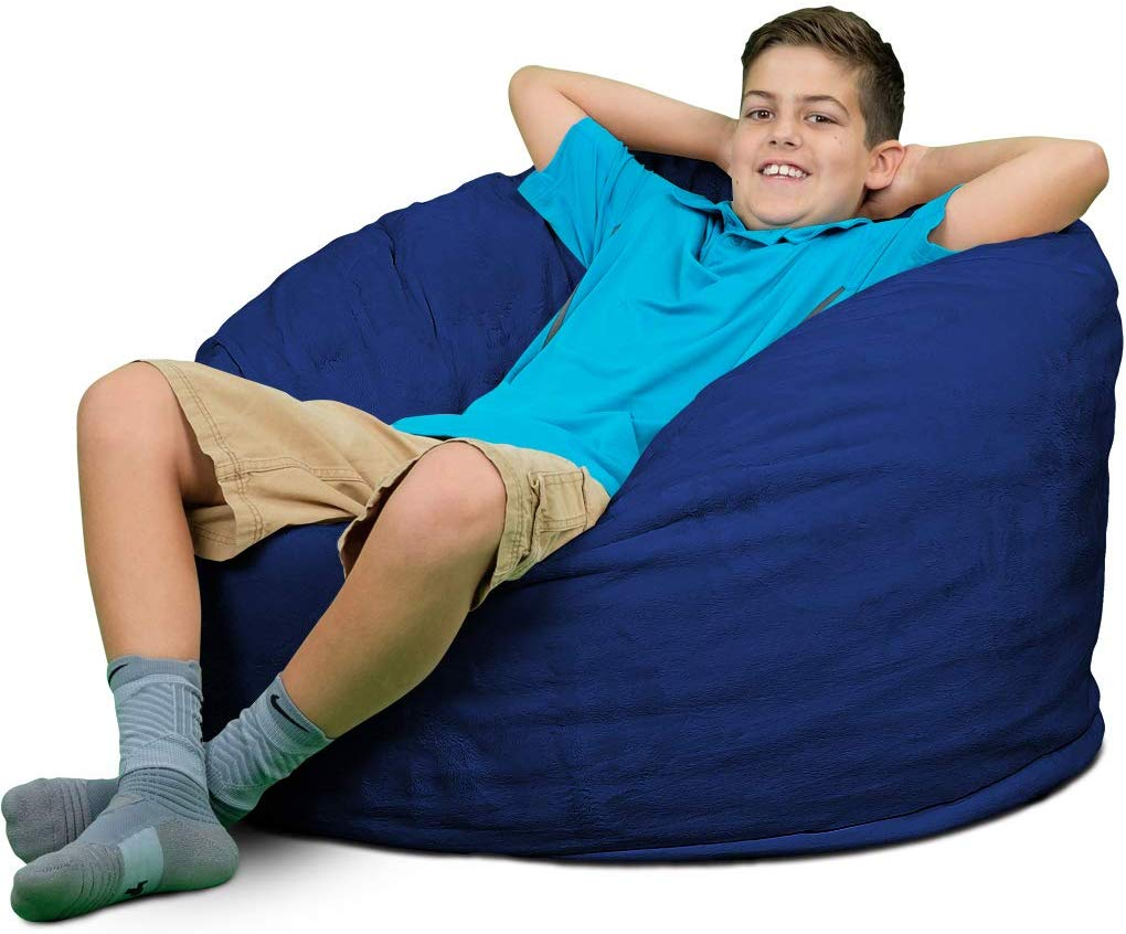 ULTIMATE SACK Bean Bag Chairs in Multiple Sizes and Colors: Giant Foam-Filled Furniture - Machine Washable Covers, Double Stitched Seams, Durable Inner Liner. (3000, Electric Blue Suede)