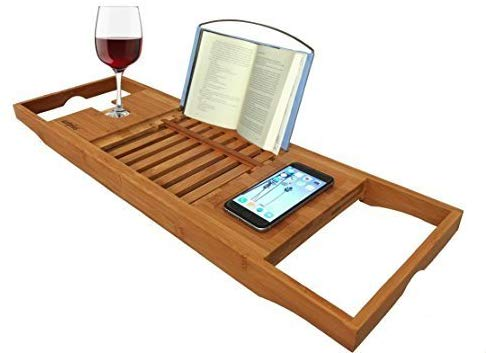 AZT Plus Bathtub Caddy Bamboo Bathtub Tray Organic Bamboo Caddy with Extending Sides, Reading Rack, Tablet Holder, Cellphone Tray and Wine Glass Holder Watch TV Shows/Movies in The Bath TUB