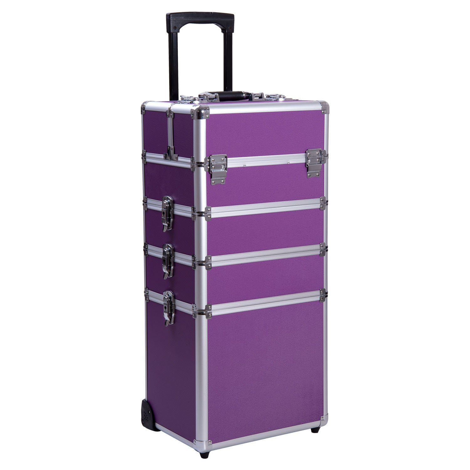 Ollieroo 4 in 1 Aluminum Rolling Cosmetic Makeup Train Cases Trolley Professional Artist Train Case Organizer Box Lift Handle Lock 2 wheel 2 Keys Each Layer Total 8 Keys Purple