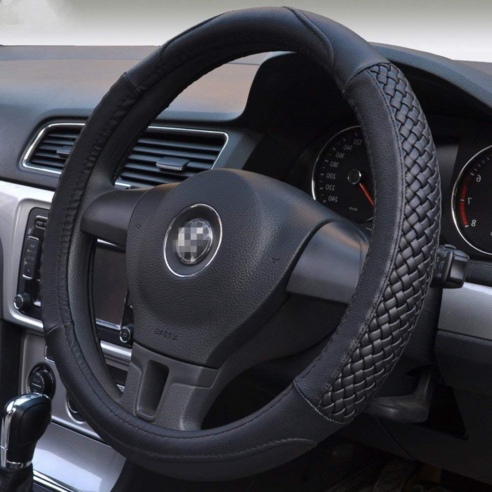 Henzxi Universal Car Steering Wheel Cover Genuine Leather Stitch On Wrap Hand Sewing Breathable Design