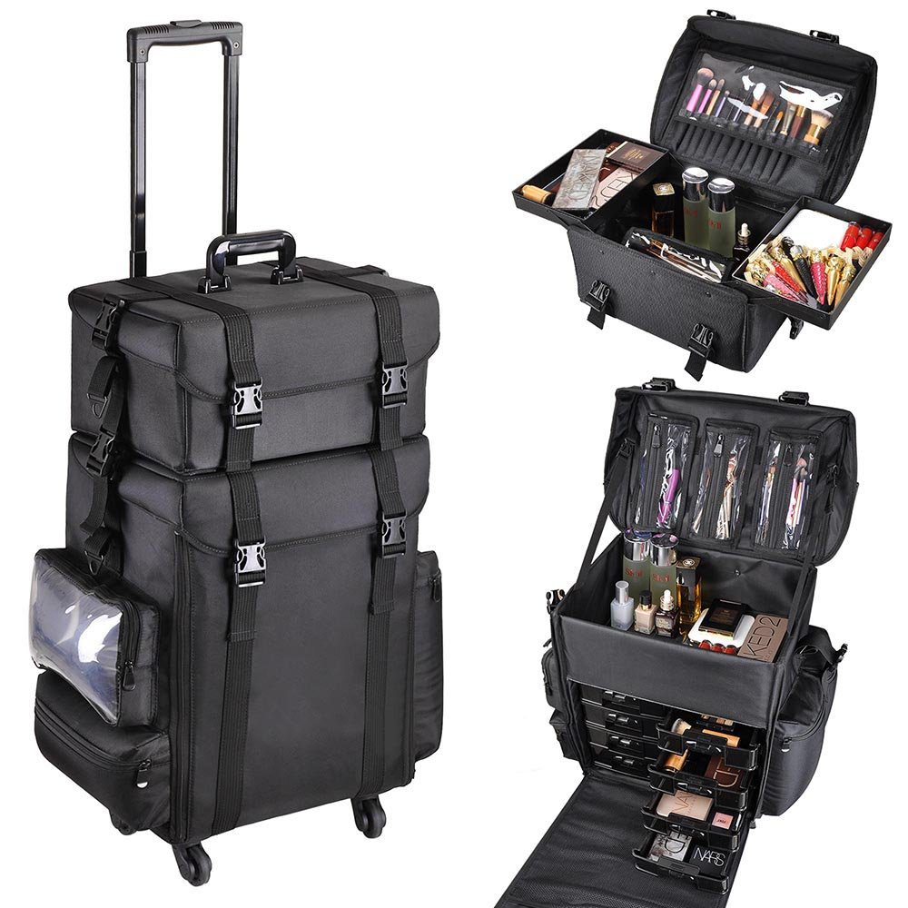 "AW 2in1 Black Oxford Soft Sided Rolling Makeup Case Cosmetic Stroage Trolley 15x11x25"" Train Bag Makeup Luggage"