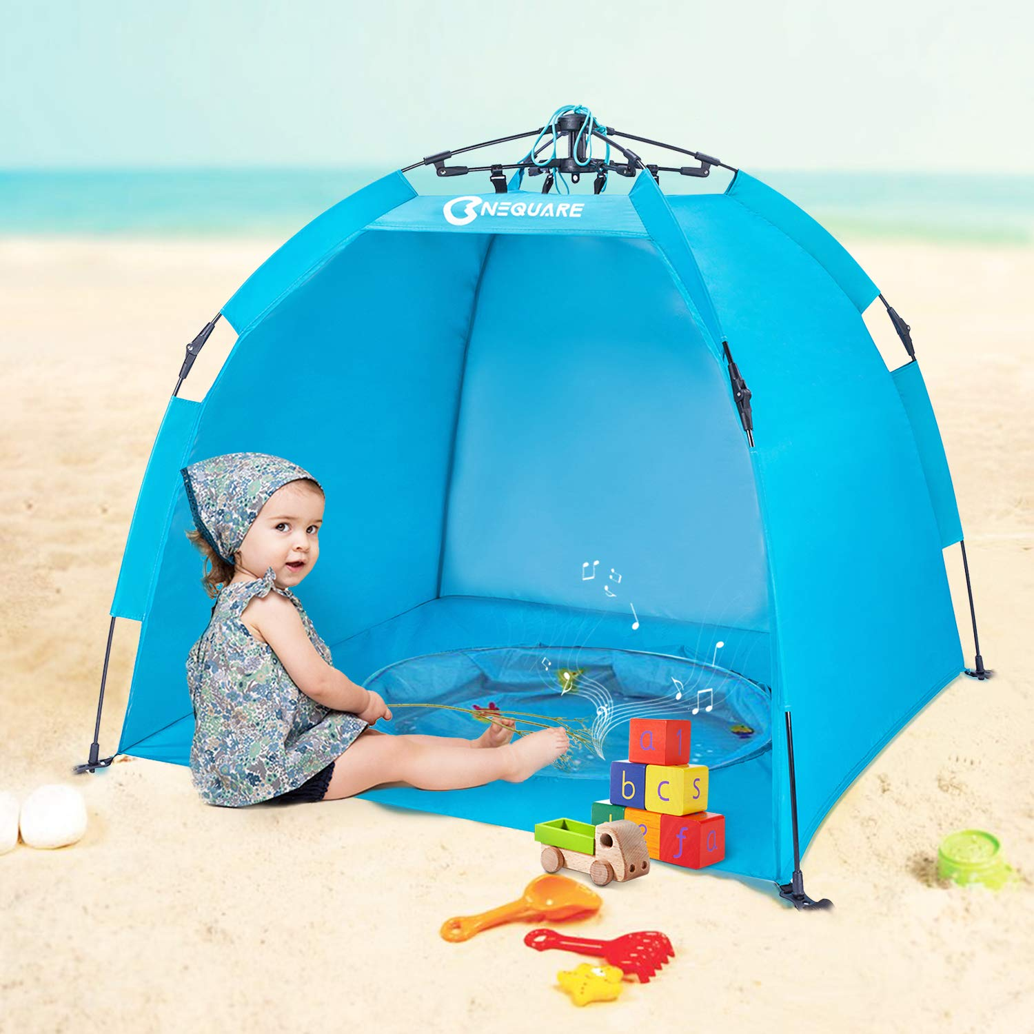 UPF 50 Easily Folds Into a Carrying Bag for Outdoors /& Beach Babymoov Anti-UV Tent Pop Up Sun Shelter for Toddlers and Children