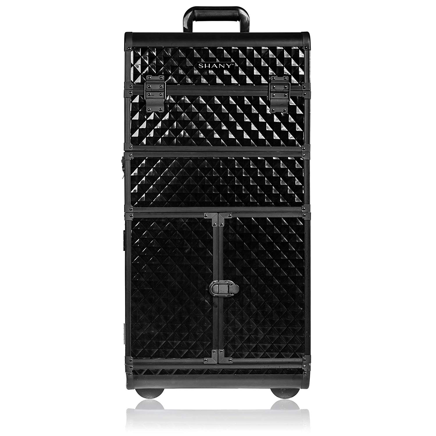 SHANY REBEL Series Pro Makeup Artists Rolling Train Case - Trolley Case - Curious Black Cat