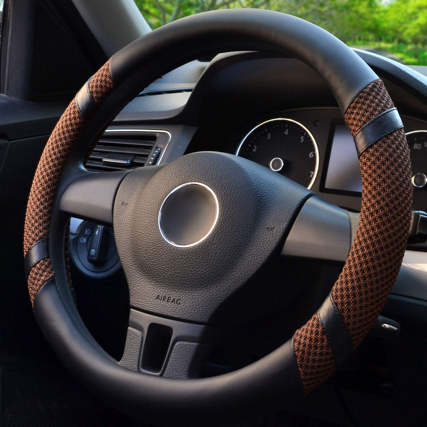 Henzxi Universal Car Steering Wheel Cover Genuine Leather Stitch On Wrap