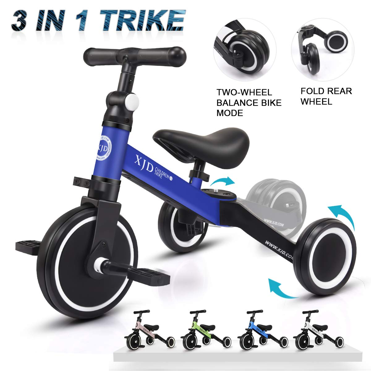 XJD 3 in 1 Kid Tricycles for 1-3 Years Old Kids  Tricycles For Kid