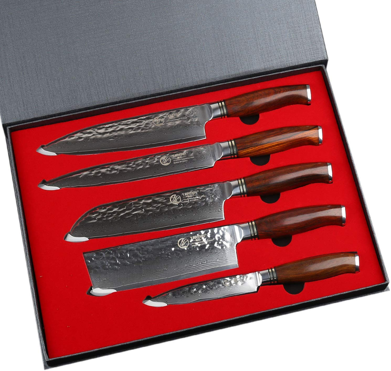 YARENH Kitchen Knife Set Professional 5 Piece Chef Knife Set - Damascus Stainless Steel - Galbergia Wood Handle,Gift Box Packaging,Sharp Vegetable Knives Sets HTT-Series